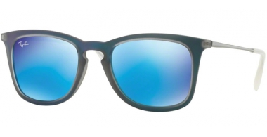 Sunglasses - Ray-Ban® - Ray-Ban® RB4221 - 617055 SHOT BLUE RUBBER // LIGHT GREEN MIRROR BLUE