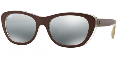 Sunglasses - Ray-Ban® - Ray-Ban® RB4227 - 619388 TOP MATTE BROWN ON OCRA // GREY MIRROR SILVER GRADIENT
