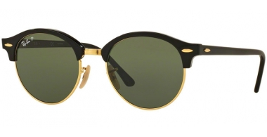 Sunglasses - Ray-Ban® - Ray-Ban® RB4246 CLUBROUND - 901/58 BLACK // GREEN POLARIZED