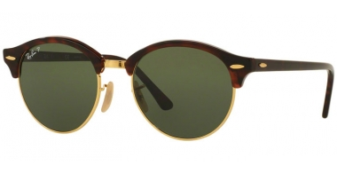 Sunglasses - Ray-Ban® - Ray-Ban® RB4246 CLUBROUND - 990/58 RED HAVANA // GREEN POLARIZED
