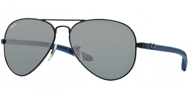 Sunglasses - Ray-Ban® - Ray-Ban® RB8307 AVIATOR CARBON FIBRE - 006/40 MATTE BLACK // GREEN MIRROR SILVER
