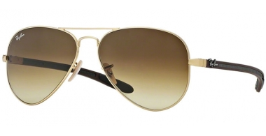 Sunglasses - Ray-Ban® - Ray-Ban® RB8307 AVIATOR CARBON FIBRE - 112/85 MATTE GOLD // BROWN GRADIENT DARK BROWN