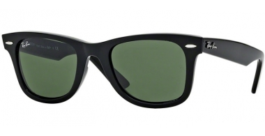 Sunglasses - Ray-Ban® - Ray-Ban® RB2140 ORIGINAL WAYFARER - 901 BLACK // CRYSTAL GREEN