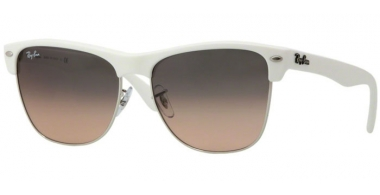 Sunglasses - Ray-Ban® - Ray-Ban® RB4175 CLUBMASTER OVERSIZED - 879/N1 DEMI SHINY WHITE SILVER // CRYSTAL GREY GRADIENT PINK