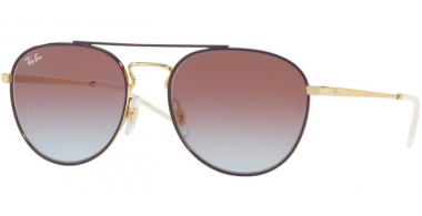 Sunglasses - Ray-Ban® - Ray-Ban® RB3589 - 9059I8 GOLD TOP ON VIOLET // LIGHT BLUE GRADIENT VIOLET