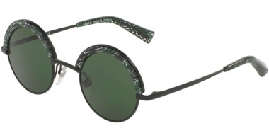Sunglasses - Alain Mikli - A04003 631 - 411271 MATTE BLACK CHEVRON GREEN // DARK GREEN
