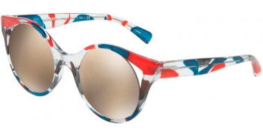 Sunglasses - Alain Mikli - A05033 RAYCE - 003/6G CRYSTAL WAVES BLUE RED GREY // LIGHT BROWN MIRROR GOLD