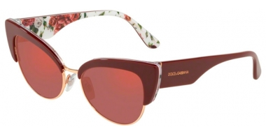 Sunglasses - Dolce & Gabbana - DG4346 - 3202D0 BORDEAUX ON ROSE AND PEONY // DARK VIOLET RED MIRROR
