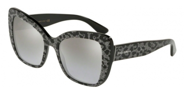 Sunglasses - Dolce & Gabbana - DG4348 - 31986V LEO GLITTER BLACK // LIGHT GREY GRADIENT SILVER MIRROR
