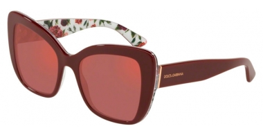 Sunglasses - Dolce & Gabbana - DG4348 - 3202D0 BORDEAUX ON ROSE AND PEONY // DARK VIOLET RED MIRROR