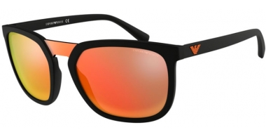Sunglasses - Emporio Armani - EA4123 - 5042F6 MATTE BLACK // GREY MIRROR RED YELLOW
