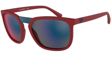 Sunglasses - Emporio Armani - EA4123 - 57206P MATTE RED // DARK GREY MIRROR BLUE RED