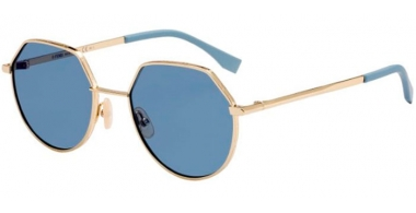 Sunglasses - Fendi - FF M0029/S - J5G (2Y)  GOLD // BLUE MIRROR