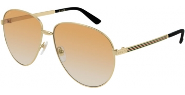 Sunglasses - Gucci - GG0138S - 007 GOLD // LIGHT BROWN GRADIENT