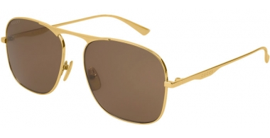 Sunglasses - Gucci - GG0335S - 001 GOLD // BROWN