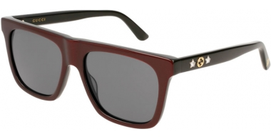 Gafas de Sol - Gucci - GG0347S - 004 BURGUNDY BLACK // GREY