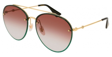 Sunglasses - Gucci - GG0351S - 004 GREEN GOLD // RED GRADIENT