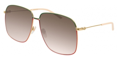 Gafas de Sol - Gucci - GG0394S - 003 GOLD GREEN RED // BROWN GRADIENT