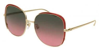 Sunglasses - Gucci - GG0400S - 003 GOLD BURGUNDY // BROWN GRADIENT BURGUNDY