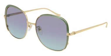 Sunglasses - Gucci - GG0400S - 004 GOLD GREEN // VIOLET GRADIENT BLUE