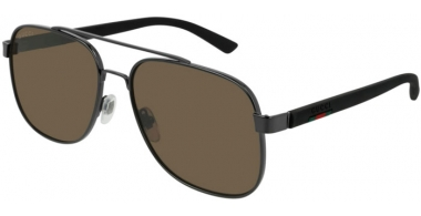 Gafas de Sol - Gucci - GG0422S - 002 RUTHENIUM BLACK // GREY POLARIZED