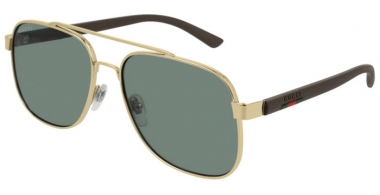 Gafas de Sol - Gucci - GG0422S - 005 GOLD BROWN // GREEN