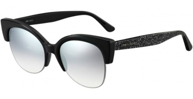 Sunglasses - Jimmy Choo - PRIYA/S - NS8 (IC)  BLACK GLITTER // GREY GRADIENT SILVER MIRROR