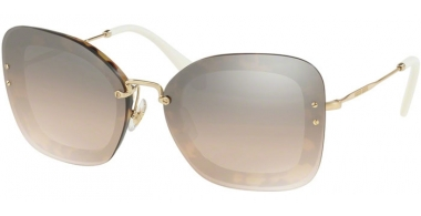 Sunglasses - Miu Miu - SMU 02TS - 7S04P0 LIGHT HAVANA // BROWN GRADIENT GREY MIRROR SILVER