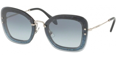 Sunglasses - Miu Miu - SMU 02TS - 102156 TRANSPARENT BLUE // BLUE GRADIENT SILVER FLASH