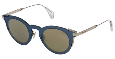 Sunglasses - Police - SPL624 - 8FFG TRANSPARENT BLUE GOLD // BROWN MIRROR GOLD