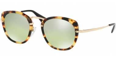 Sunglasses - Prada - SPR 58US - 7S0212 MEDIUM HAVANA // GREEN MIRROR GRADIENT SILVER