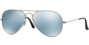 Sunglasses - Ray-Ban® - Ray-Ban® RB3025 AVIATOR LARGE METAL - 019/W3 MATTE SILVER // SILVER MIRROR POLARIZED
