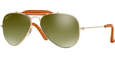 Gafas de Sol - Ray-Ban® - Ray-Ban® RB3422Q AVIATOR CRAFT - 001/M9 ARISTA LIGHT BROWN LEATHER // GREEN GRADIENT BLUE POLARIZED