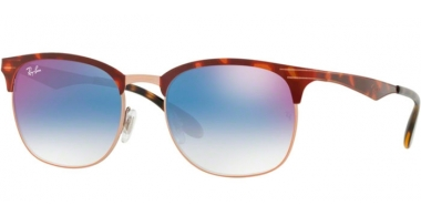 Sunglasses - Ray-Ban® - Ray-Ban® RB3538 - 9074X0 COPPER ON TOP HAVANA // BLUE GRADIENT MIRROR RED