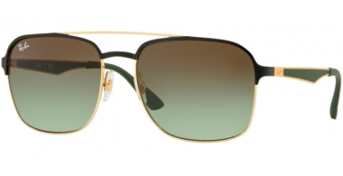 Sunglasses - Ray-Ban® - Ray-Ban® RB3570 - 9110E8 GOLD BLACK // GREEN GRADIENT BROWN
