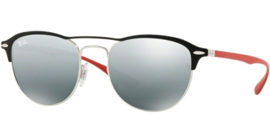 Sunglasses - Ray-Ban® - Ray-Ban® RB3596 - 909188 SILVER ON TOP MATTE BLACK // GREY MIRROR SILVER GRADIENT