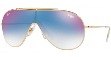 Sunglasses - Ray-Ban® - Ray-Ban® RB3597 - 001/X0 GOLD // CLEAR GRADIENT BLUE MIRROR RED