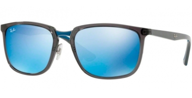 Sunglasses - Ray-Ban® - Ray-Ban® RB4303 - 636355 TRASPARENT GREY // BLUE MIRROR BLUE
