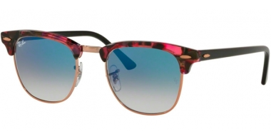 Sunglasses - Ray-Ban® - Ray-Ban® RB3016 CLUBMASTER - 12573F SPOTTED GREY VIOLET // BLUE GRADIENT
