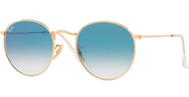 Sunglasses - Ray-Ban® - Ray-Ban® RB3447N ROUND METAL - 001/3F ARISTA // CRYSTAL WHITE GRADIENT BLUE
