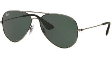 Sunglasses - Ray-Ban® - Ray-Ban® RB3558 - 913971 MATTE BLACK ANTIQUE // DARK GREEN