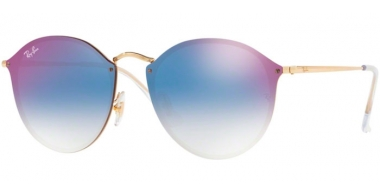 Sunglasses - Ray-Ban® - Ray-Ban® RB3574N BLAZE ROUND - 001/X0 GOLD // CLEAR GRADIENT BLUE MIRROR RED
