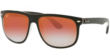 Sunglasses - Ray-Ban® - Ray-Ban® RB4147 - 6039V0 TOP BLACK ON TRANSPARENT // RED GRADIENT MIRROR RED