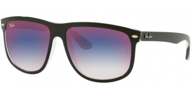 Sunglasses - Ray-Ban® - Ray-Ban® RB4147 - 6039X0 TOP BLACK ON TRANSPARENT // BLUE GRADIENT MIRROR RED