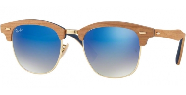 Sunglasses - Ray-Ban® - Ray-Ban® RB3016M CLUBMASTER WOOD - 11807Q SHINY GOLD // GREY GRADIENT BROWN MIRROR BLUE