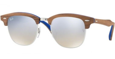 Sunglasses - Ray-Ban® - Ray-Ban® RB3016M CLUBMASTER WOOD - 12179U SILVER // BROWN GRADIENT MIRROR SILVER