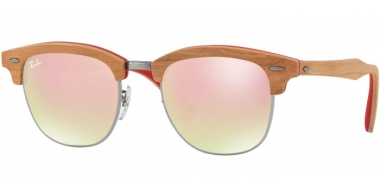 Sunglasses - Ray-Ban® - Ray-Ban® RB3016M CLUBMASTER WOOD - 12197O GUNMETAL // BROWN GRADEINT MIRROR PINK