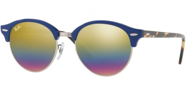 Sunglasses - Ray-Ban® - Ray-Ban® RB4246 CLUBROUND - 1223C4 TOP BLUE ON TRASPARENT BLUE // LIGHT GREY MIRROR RAINBOW 3