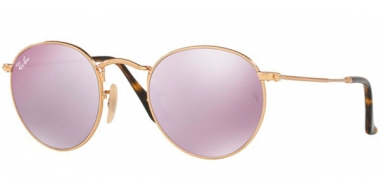 Sunglasses - Ray-Ban® - Ray-Ban® RB3447N ROUND METAL - 001/8O SHINY GOLD // WISTERIA FLASH