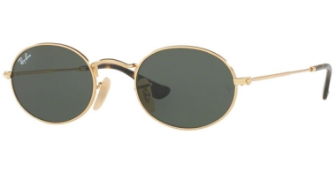 Sunglasses - Ray-Ban® - Ray-Ban® RB3547N OVAL - 001 GOLD // GREEN